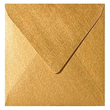 1 Briefumschlag 15 x 15 cm 150 x 150 mm Gold Verschluss: feuchtkleb