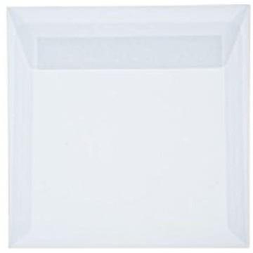 1 Briefumschlag 15,5 x 15,5 cm 155 x 155 mm Transparente/ Weiß Verschluss: Kuverts mit Haftstreifen