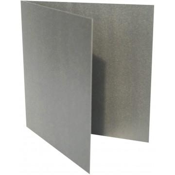1-Quadratische Klappkarte zum selbst Beschriften in Silber Metallic : von der Größe 100 x 100 mm 10 x 10 cm Grammabe:300 g/m²